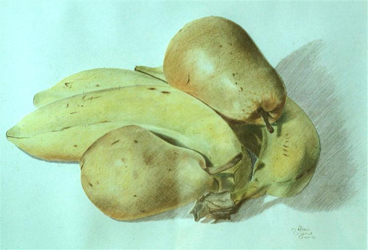 Bananas and Pears. Coloured pencils on paper.
